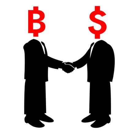 Image of handshake between America and Thailand Vector