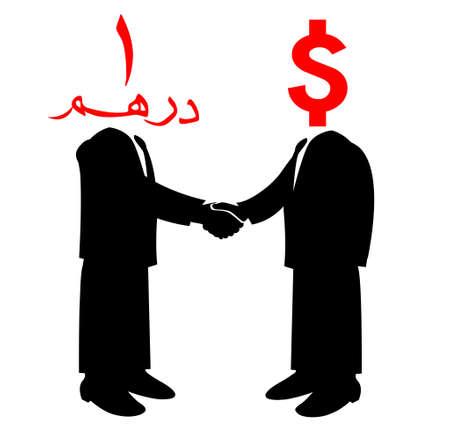 Image of handshake between America and United of arab Emirate Vector