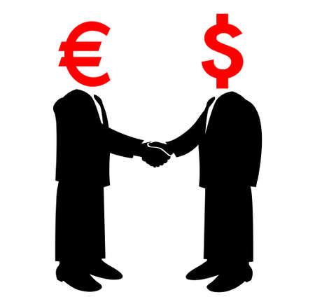 Image of handshake between America and Europe  Vector