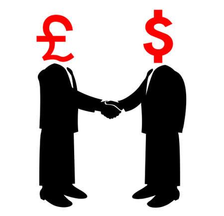 Image of handshake between America and Britain Vector