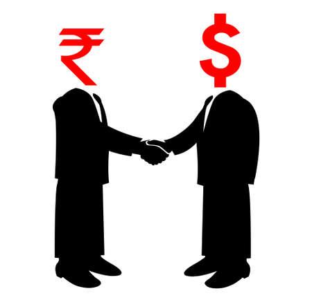 Image of handshake between America and India Vector