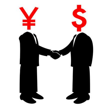 Image of handshake between America and Japan Vector