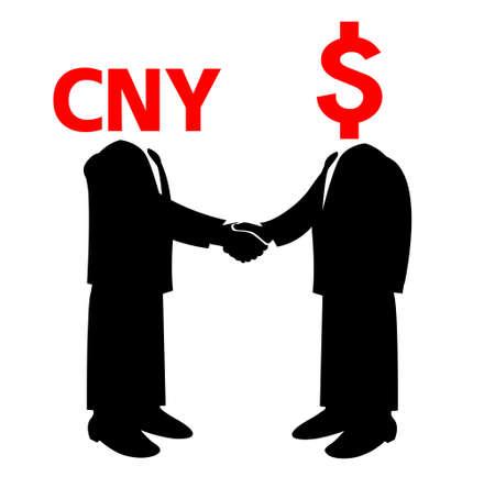 Image of handshake between America and china Vector