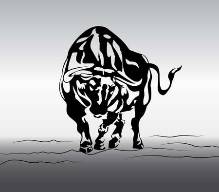 financal: angry bull on gradient background