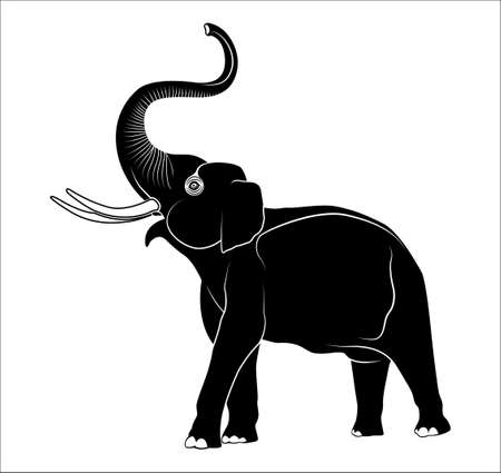 thai tattoo: image of an elephant on a white background Illustration