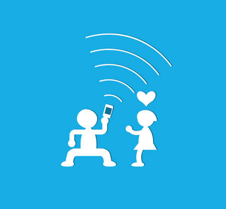 couple having fun: Young couple having fun together with mobile phone Illustration