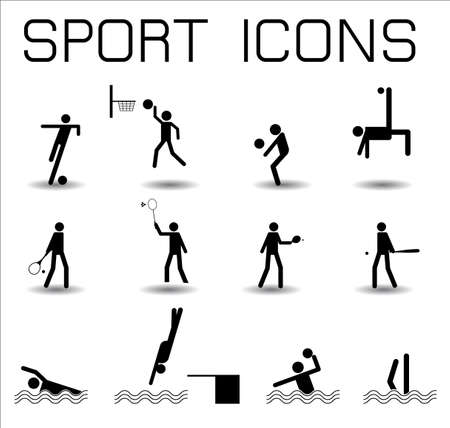 synchronized: sport icons isolated on white background