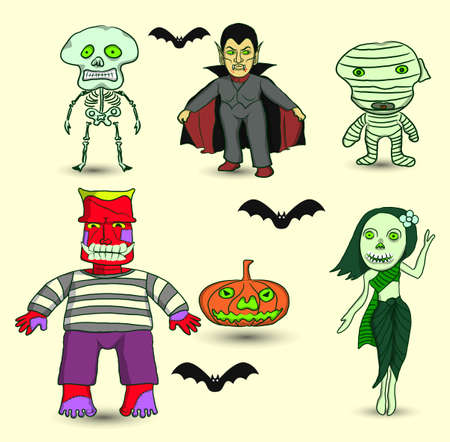 Set of Halloween ghosts around the world Vector