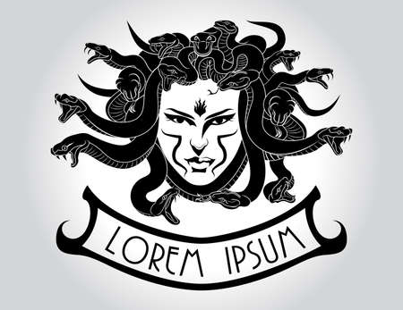 Illustration of Medusa Gorgon head with snake hair. Çizim
