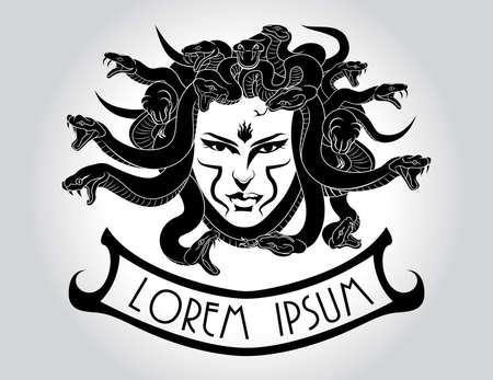 diosa griega: Ilustración de la Medusa Gorgona cabeza con el pelo de serpiente.