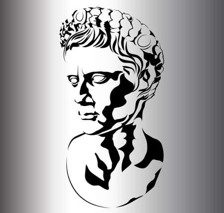 sculptures: roman sculpture of Augustus Illustration
