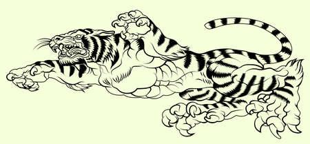 creeping: tigre rastrero formato tatuaje Vectores