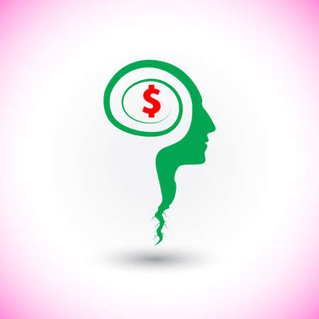 Think business concept seed grows on human head and mind symbol. Vector