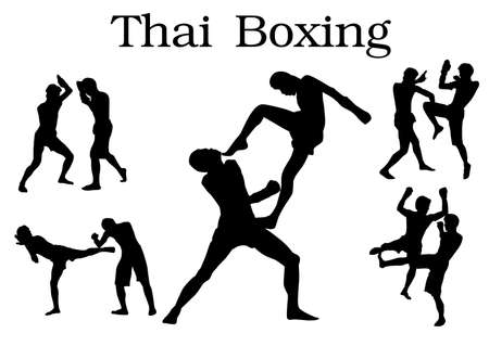 offence: fighting postures of anceint mueythai or thai kick boxing isolated on white background divided red and blue