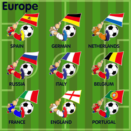 Vector cartoon of Nine soccer football teams from Europe including  Spain, German, Netherlands, Russia, Italy, belgium, France, England, Portugal on the field. Vector