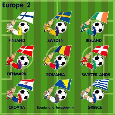 Vector cartoon of Nine soccer football teams from Europe including  Finland , Sweden, Ireland, Denmark, Romania, Switzerlands, Croatia, Bosnia and Herzegovina, Greecel on the field. Vector
