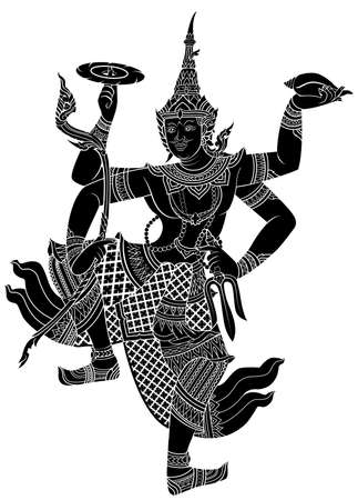 thai dance: Drawing of Narayana silhouetted on white background