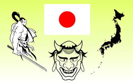 illustion: Japanese warriors, flag, map and ghost. vector illustion
