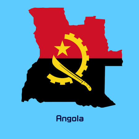 vector map of    Angola   with flag texture Vector