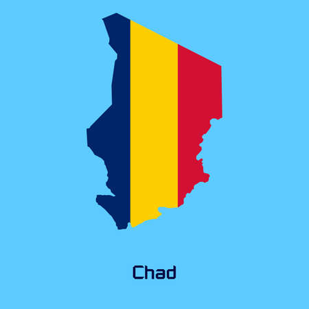 chad: vector map of  Chad with flag texture