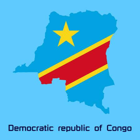 vector map of  Democratic republic of Congo with flag texture Vector