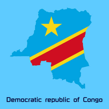 republic of the congo: vector map of  Democratic republic of Congo with flag texture