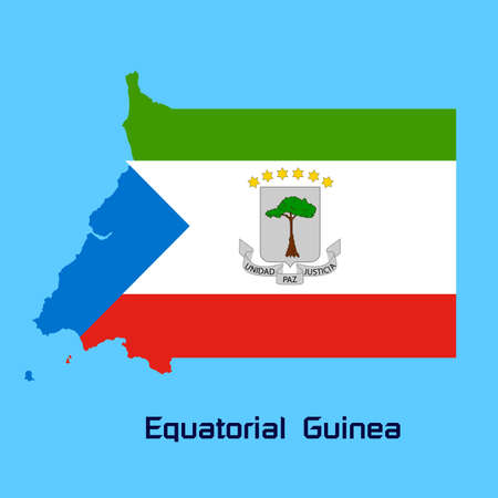vector map of Equatorial Guinea with flag texture Vector