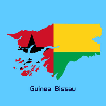 bissau: vector map of Guinea Bissau  with flag texture Illustration
