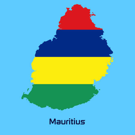mauritius: vector map of Mauritius  with flag texture