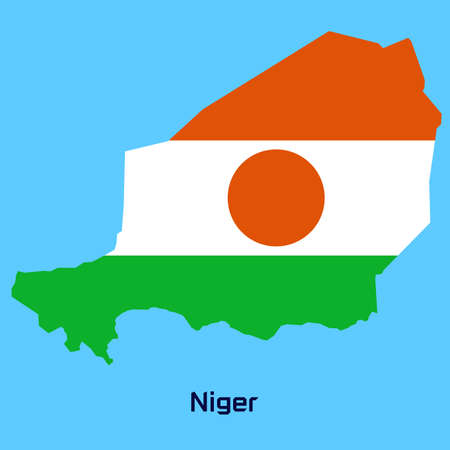 vector map of Niger  with flag texture Vector