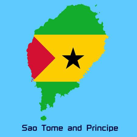 principe: mapa vectorial de Santo Tom� y Pr�ncipe con la bandera de la textura