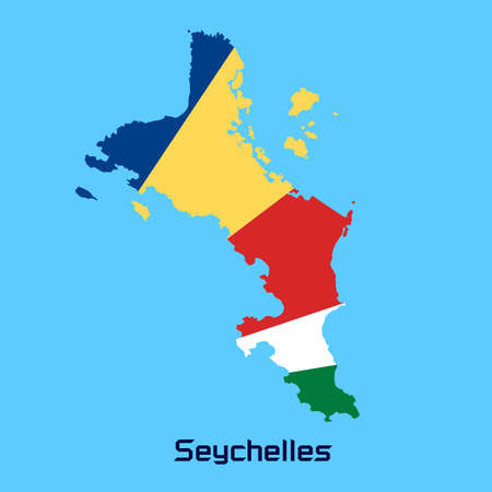seychelles: vector map of Seychelles  with flag texture Illustration