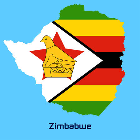 vector map of Zimbabwe  with flag texture Vector