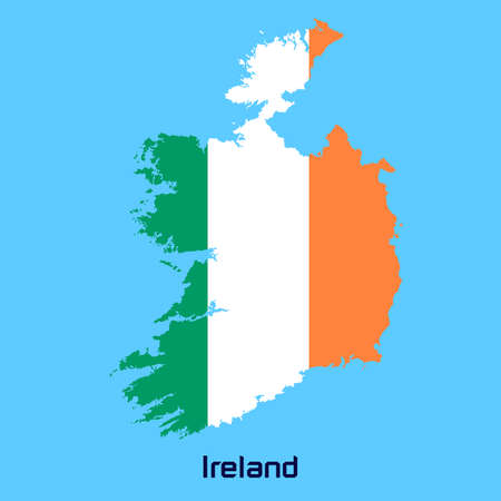 vector map of  Ireland  with flag texture Vector