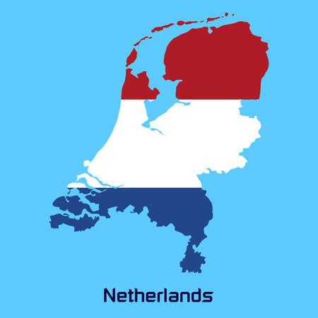 vector map of  Netherlands  with flag texture Vector