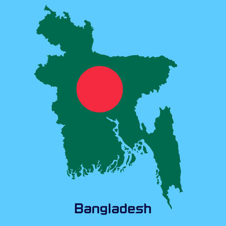 vector map of   Bangladesh  with flag texture