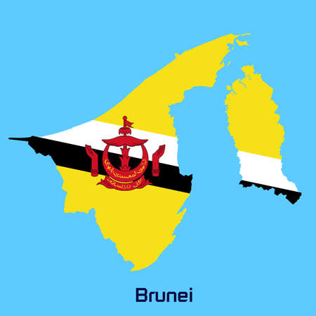 map of brunei: vector map of   Brunei with flag texture