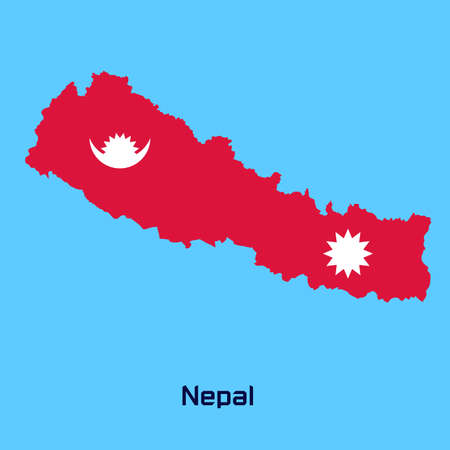 nepal: vector map of  Nepal   with flag texture