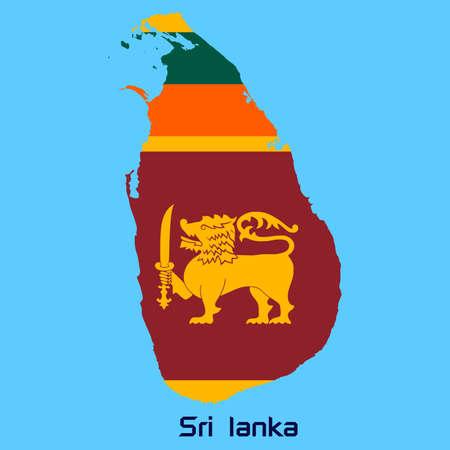 sri: vector map of Sri lanka  with flag texture