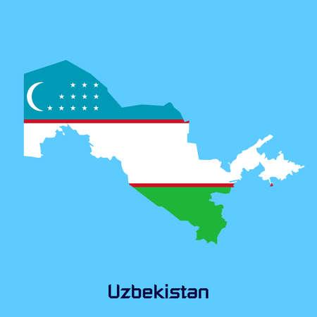 oezbekistan: vector kaart van Oezbekistan met vlag textuur