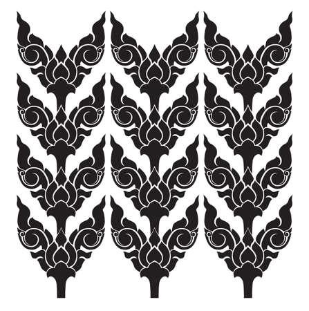 indonesia culture: Asian interior flower pattern Illustration