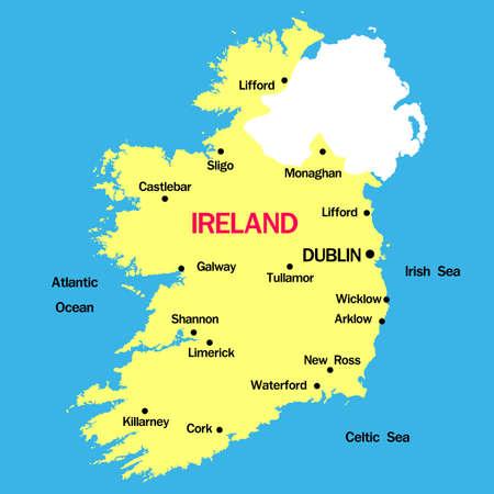 irish map: vector map of  Ireland  with cities Illustration