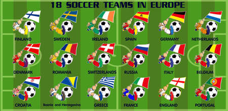 Cartoon of eighteen soccer football teams and flags  from Europe Vector
