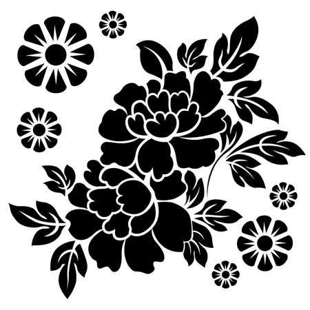 is black white: Black silhouette of flowers. Vector illustration.