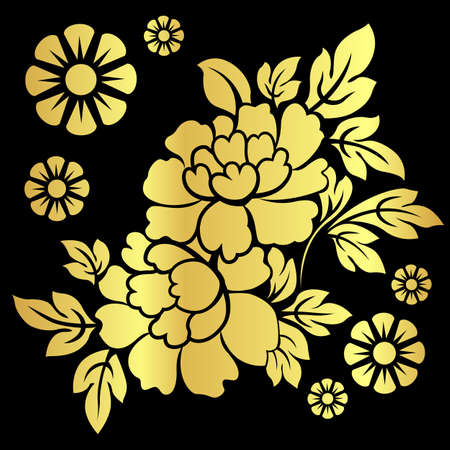 gold silhouette of flowers. Vector illustration. Vector