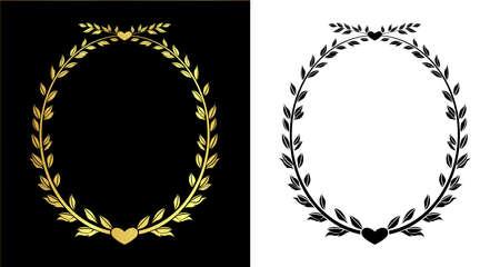 elipse: de color oro y salida de línea deja vectorial Marco elipse en eps10