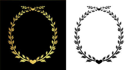 gold color and out line leaves ellipse frame vector in eps10 Vector