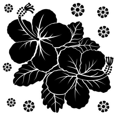 Black silhouette of flowers. Vector illustration.