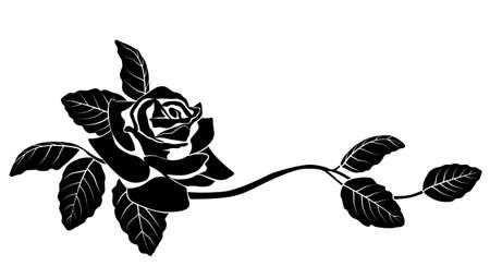 rose tattoo: Black silhouette of flowers. Vector illustration.