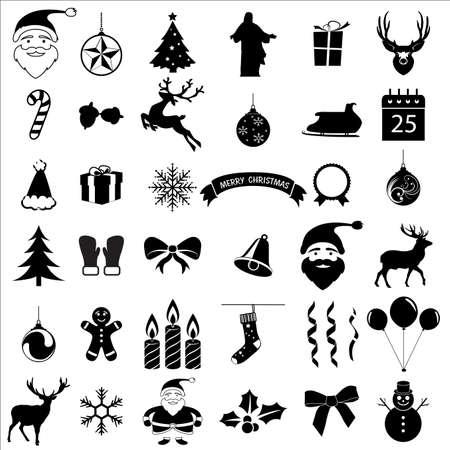 Weihnachten und Feier-Ikonen-Sammlung Standard-Bild - 43899436
